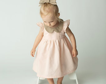 f16aa090360 Blush Organic Cotton girls dress with flutter sleeves and peter pan collar