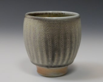 Gossman Porcelain Cup, Shadow Gray with Herringbone Stripes