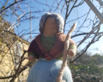 Needle Felted Wool Figure -  Mrs. Thaw