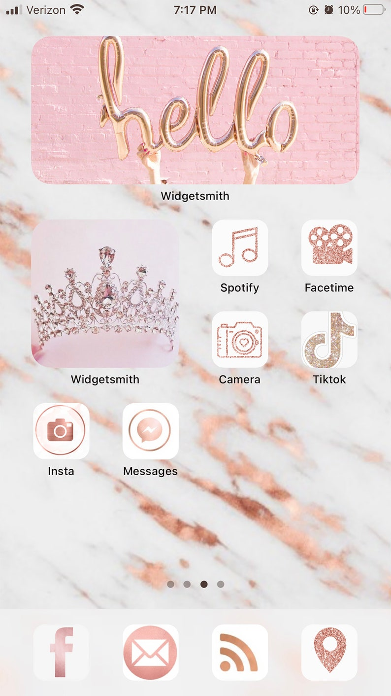 Rose Gold Glitter Aesthetic iPhone ios14 App Icons 20 App | Etsy