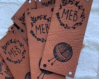 Custom Tags for handmade items, Knitting Tag Personalized,  Personalized Sewing Tags, Custom Knitting Tags, Knitting Tags, Faux Leather