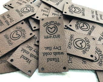 Handmade With Love Tags, Sewing Tags, Made With Love Labels, Custom Knitting Tags, Knitting Tags, Hand Knits