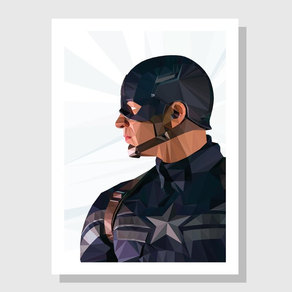 Marvel Captain America Poster Print Movie Posters Wall Art Etsy