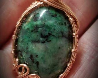 Copper wire wrapped green cabochon Pendant