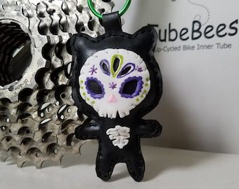 Day of the Dead Cat Keychain