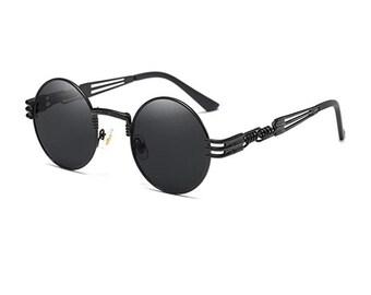 54c16f712e Black Steampunk Round Hip Hop Glasses