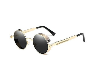 d5c17d5da6 Gold Steampunk Round Hip Hop Glasses