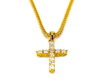 Mens gold cross necklace etsy mens gold stainless steel iced out cross pendant necklace mens stainless steel necklace mens necklace necklace for men mens jewerly aloadofball Images