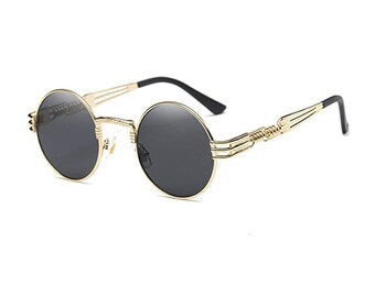 bc4d3f2afa0 Gold Steampunk Round Hip Hop Glasses
