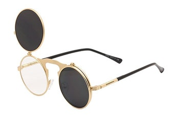 25f38bb758 Gold Steampunk Flip Round Hip Hop Glasses