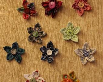 Scrap fabric flowers brooch/pin