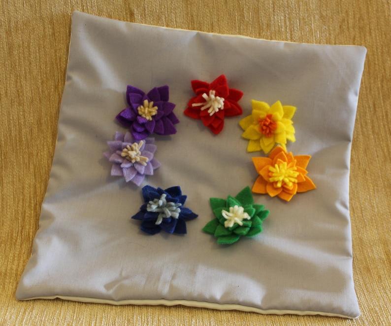 Small Cushion Cover With Chakrarainbow Handmade Lotus Flowers Etsy