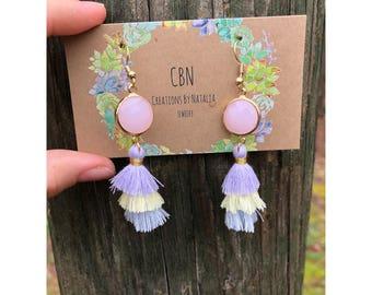Stone and tri colored tassle earrings.