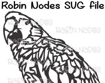 Parrot SVG file ~ bird bust ~ Macaw bird with feathers ~ Digital Download ~ AI, DXF, pdf, svg, and jpg ~ Cricut laser