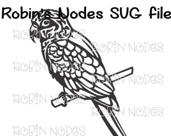 Parrot SVG file ~ bird on branch ~ Macaw bird with feathers ~ Digital Download ~ AI, DXF, pdf, svg, and jpg ~ Cricut laser