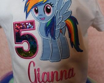 Rainbow Dash Embroidery Shirt Birthday My Little Pony