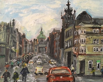 Edinburgh  street view acrylic painting art