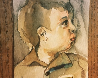 Custom baby portraits watercolor painting gift for her or him