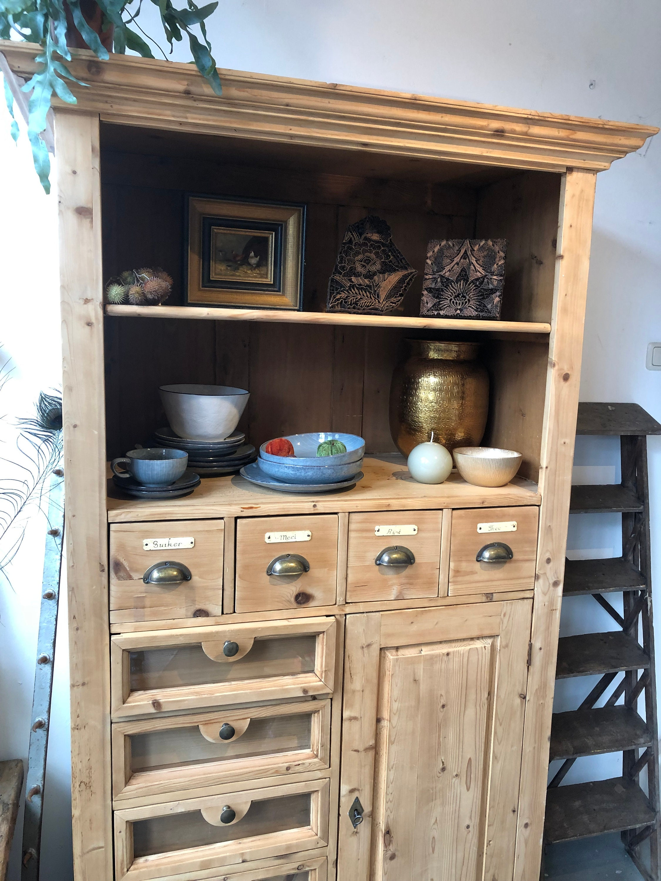 Used, Old wooden buffet cabinet with drawers for sale