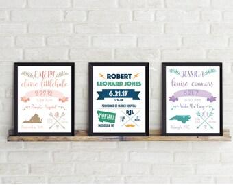 Birth Announcement Wall Art/ Girl Birth Announcement Print / Boy Birth Announcement Print / 8.5x11 / Nursery Decor