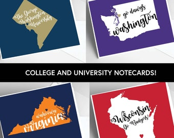 College and University Notecard Sets / 5.5 x 4 inch notecards / College Stationery / Alma Mater Gifts