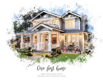 Custom Home Watercolor Effect Print and Notecards / House Warming Gift / New Home Present / 8.5 x 11 House / Townhouse / Beach House Print