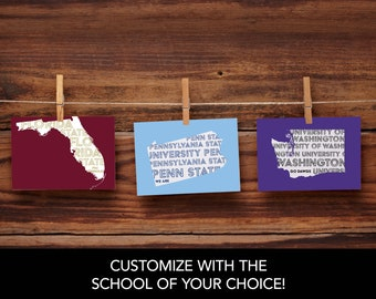 Modern College and University Notecard Sets / 5.5 x 4 inch notecards / College Stationery / Alma Mater Gifts
