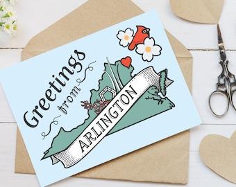 Arlington, VA Notecards / Alexandria, McLean, Falls Church, Vienna, Leesburg, Virginia Notecard Set / VA stationery /  Folded Cards