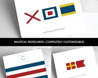Nautical Notecards /  Nautical Flag stationery /  Folded Cards  / Nautical Letterhead