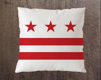 "Washington DC Pillows / DC Flag / The District / D.C. / District of Columbia / Custom Pillows / 18"" x 18"" / Home Decor"