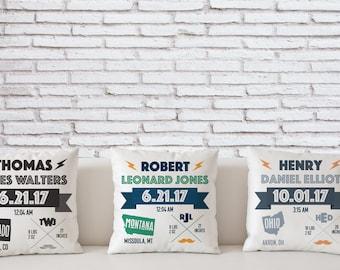 Baby Boy Birth Announcement Pillow / Multiple Color Combos / 18x18 / Baby Nursery / Boy Pillows  / Linen Finish