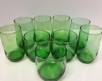 49a859b00b1 Set 9 Vintage Original 1950s Anchor Hocking Forest Green Drinking Glasses  and Tumblers