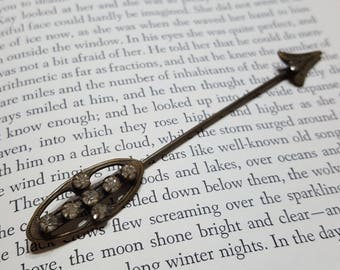 Antique Brass & rhinestone Stick pin