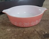 1958 Vintage pyrex oven casserole baking dish pink gooseberry 471 1PT made in U.S.A.