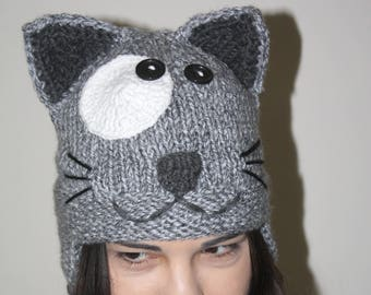 Gray Cat Hat Handmade Womens Cat Hat Hand Knit Light Gray Cat ears Winter Accessories Animal Knitted Hat