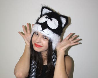 28b4cee8378 Fluffy Black and White Knitted Cat Hat Black White Knitted Cat Hat Knitted Hat  Black Kitty Beanie with White Accents Black Cat Beanie