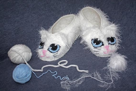 Katze Hausschuhe Weiß Kuschelige Katze Hausschuhe Romanische Etsy