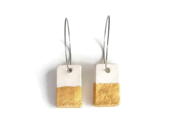 Gold Dip, Light earrings Rectangle Earrings, Essential Oil Diffuser Earrings, Essential Oil Included, Minimalist, Simple, Chic, Elegant
