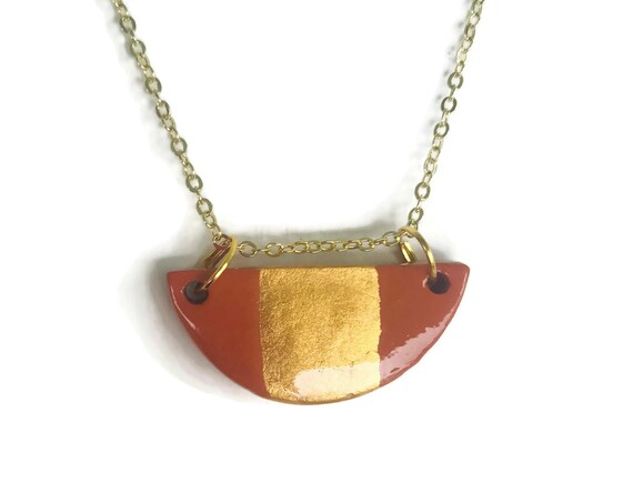 Half Circle, Half Moon, Gold Stripe, Coffee, Tan, Essential Oil Diffuser Necklace, Essential Oil Included, Minimalist, Boho, Simple, Ch