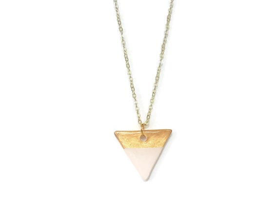 Gold Dipped, Triangle, Pendant Necklace, Essential Oil Diffuser Necklace, Essential Oil Included, Minimalist, Boho, Simple, Chic, Elegant