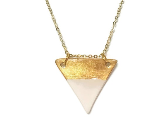 Gold Dipped, Large Triangle, Pendant, Essential Oil Diffuser Necklace, Essential Oil Included, Minimalist, Boho, Simple, Chic, Elegant