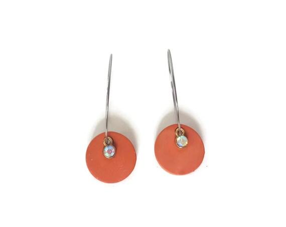Terra Cotta, Earrings, Round Earrings, Essential Oil Diffuser Earrings, Essential Oil Included, Minimalist, Simple, Chic, Elegant, Geometric