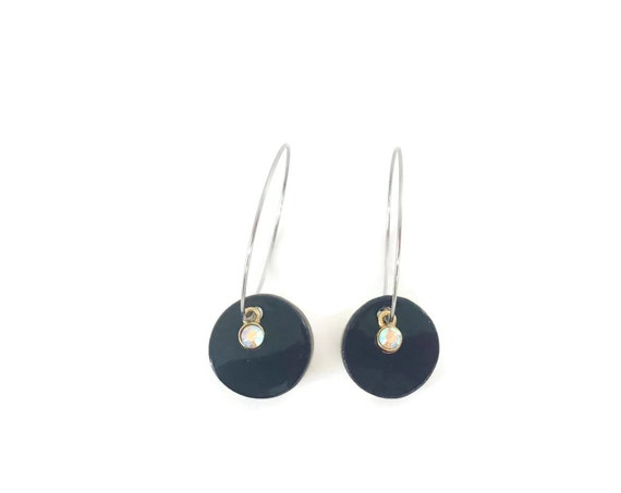 Black Earrings, Round Earrings, Essential Oil Diffuser Earrings, Essential Oil Included, Minimalist, Simple, Chic, Elegant, Geometric