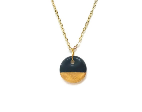Gold Dipped, Black, Black and Gold, Essential Oil Diffuser Necklace, Essential Oil Included, Minimalist, Boho, Simple, Chic, Elegant