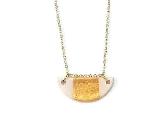 Half Circle, Half Moon, Gold Stripe, Pendant Necklace, Essential Oil Diffuser Necklace, Essential Oil Included, Minimalist, Boho, Simple, Ch
