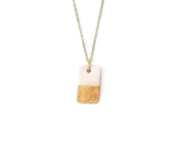 Rectangle, Bar Necklace, Gold dipped, Essential Oil Diffuser Necklace, Essential Oil Included, Geometric, Boho, Simple, Chic, Elegant