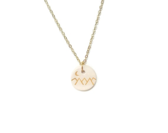 Moon and Mountain, 5 peaks, Boho, Gold, Essential Oil Diffuser Necklace, Essential Oil Included, White, Minimalist, Simple, Chic, Elegant