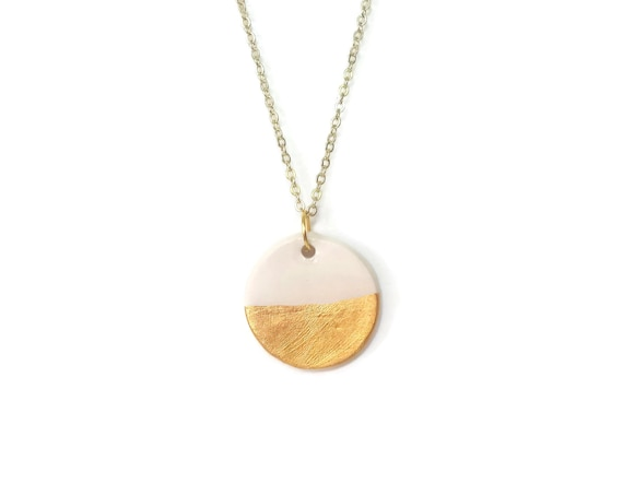 Gold Dipped, Large Pendant, Essential Oil Diffuser Necklace, Essential Oil Included, Minimalist, Boho, Simple, Chic, Elegant