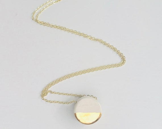 Gold Dipped, Pebble Necklace, Essential Oil Diffuser Necklace, Essential Oil Included, Minimalist, Boho, Simple, Chic, Elegant