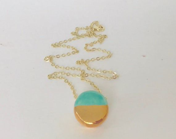 Gold Dipped, Mint, Turquoise, Essential Oil Diffuser Necklace, Essential Oil Included, Minimalist, Simple, Chic, Elegant